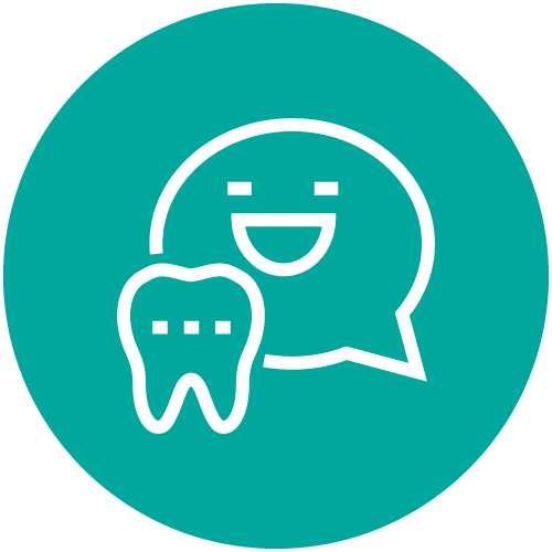 An aqua circle with a conversation bubble and a tooth on it to show this dental team listens to its patients.