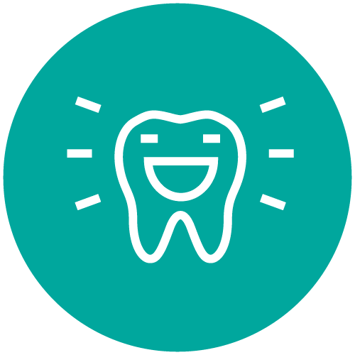 An aqua circle with a happy smiling tooth in white to show that this dental team prioritizes your comfort.