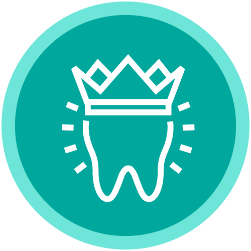A circle icon with a shiny tooth with a regal crown on top inside to show that we provide comprehensive dentistry all under one roof