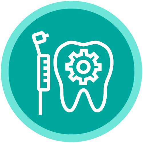 Circle icon with a dental drill and tooth with a gear inside it to show that our dentist office in Hingham, MS uses the latest in dental technologies